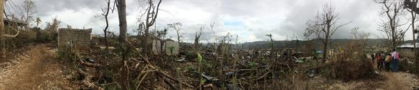 Homes destroyed from Hurricane Matthew in Duchity, Haiti, October 2016